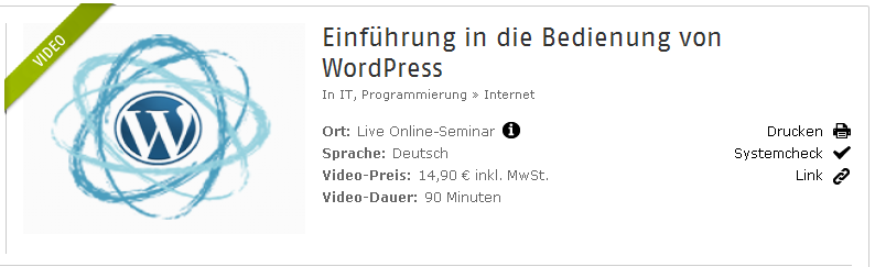 WordPress Bedienung