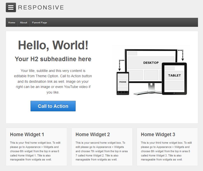 fa5501f62434d Das minimalistische WordPress Theme Responsive von CyberChimps ist einfach  und funktional gestaltet. Mit 9 verschiedenen Seiten-Templates