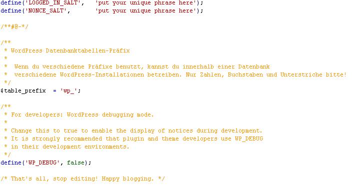 Tabellen Praefix WordPress