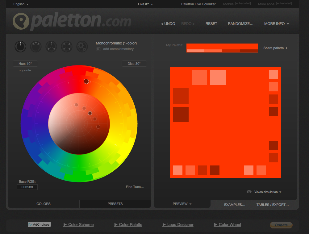 Passende Farben finden Paletton.com