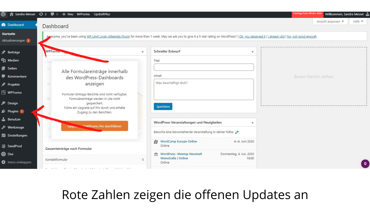 Offene WordPress Updates
